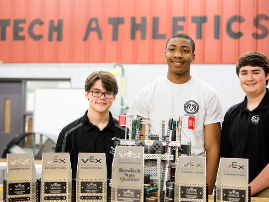 Brew Tech robotics competitors, from left, Trevor Taylor,