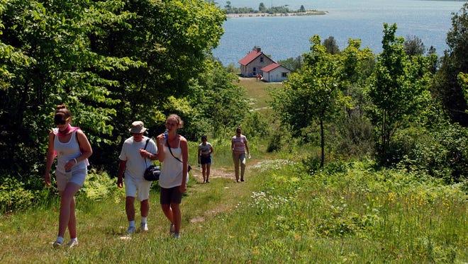 Hikers on Rock Island.