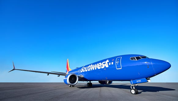 """Southwest shows off one of its new Boeing 737 """"Max"""""""