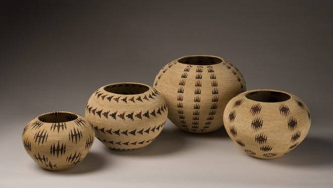 A collection of Washoe baskets on display at the Nevada Museum of Art through Jan. 10.