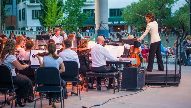 Reno Philharmonic Orchestra performing during Pops on the River 2014 at Wingfield Park.