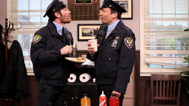 "THE TONIGHT SHOW STARRING JIMMY FALLON -- Episode 0437 -- Pictured: (l-r) Actor Jake Gyllenhaal and host Jimmy Fallon during the ""Point Pleasant Police Department"" sketch on March 21, 2016 -- (Photo by: Andrew Lipovsky/NBC)"