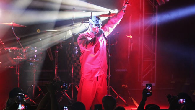 Tech N9ne, along with Krizz Kaliko, performs a sold-out show at Vinyl Music Hall Tuesday night.