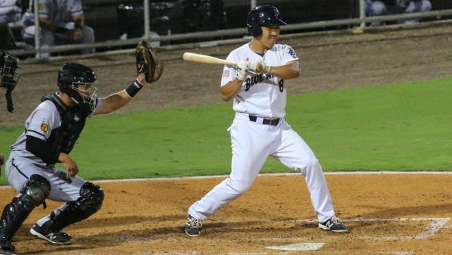 Pensacola's Ray Chang leans back from a high pitch Wednesday night at Blue Wahoos Stadium.