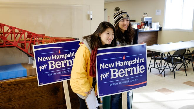 Wake Forest students in the Wake the Vote project volunteer on presidential campaigns in New Hampshire on Tuesday, February 9, 2016. One group of students gets instructions for canvassing at the office of Democratic candidate Bernie Sanders.