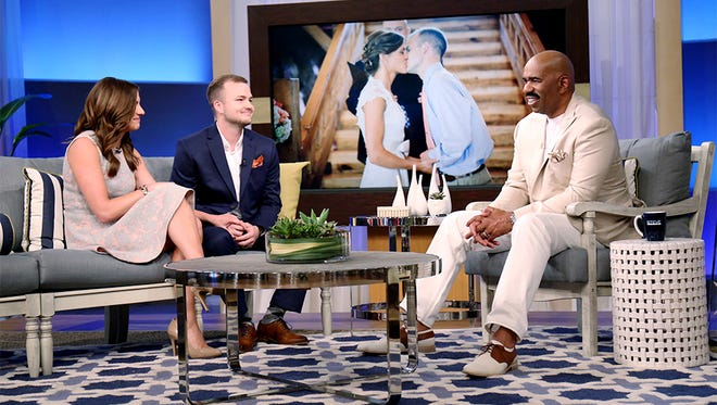 "Danielle and CJ Stewart, from left, are guests on ""The Steve Harvey Show"" airing Tuesday."