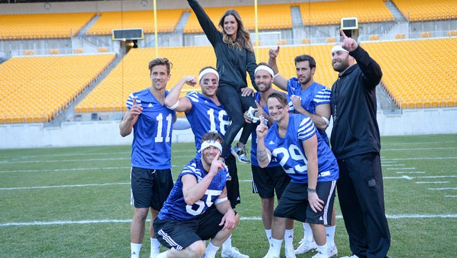 "Jordan Rodgers, left, wore No. 11 as quarterback for a football challenge at Heinz Field in Pittsburgh in Tuesday's episode of ""The Bachelorette."""