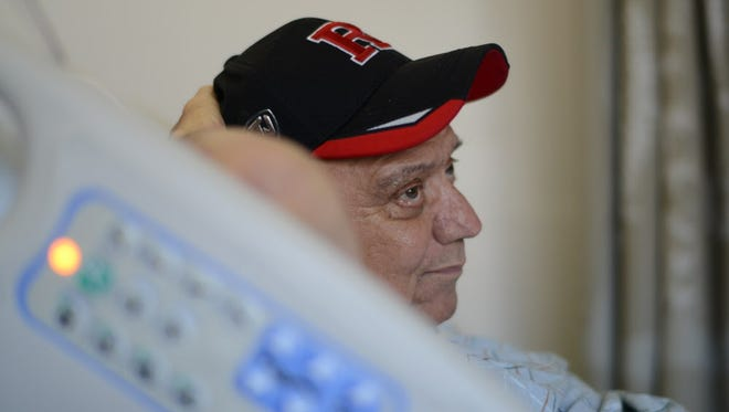 Frank Bodino in his hospital bed at Mount Sinai hospital on the east side of Manhattan. The Manalapan heart transplant recipient just received his second new heart and a new kidney, and by all accounts is doing very well.
