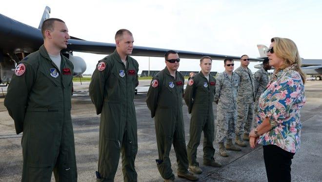 Air Force Secretary Deborah Lee James talks to B-1 crew at Andersen Air Force Base on Tuesday.