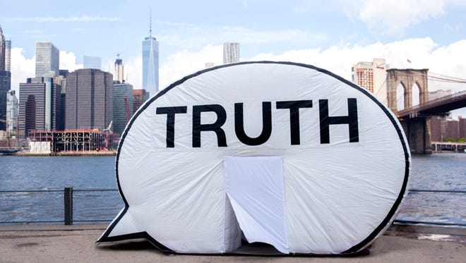 "The Truth Booth inflatable sculpture invites the public inside to record a 2-minute video responding to the prompt: ""The truth is..."" The inflatable sculpture will appear in Des Moines' Cowles Commons and the Western Gateway Park in on Sept. 28 and 29."