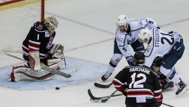 Star goaltender Sean Bonar, shown stopping a shot against the Ice Flyers Stephen Buco (9) and Jesse Stoughton in their playoff matchup in April, was acquired in a big trade Friday by the Ice Flyers.