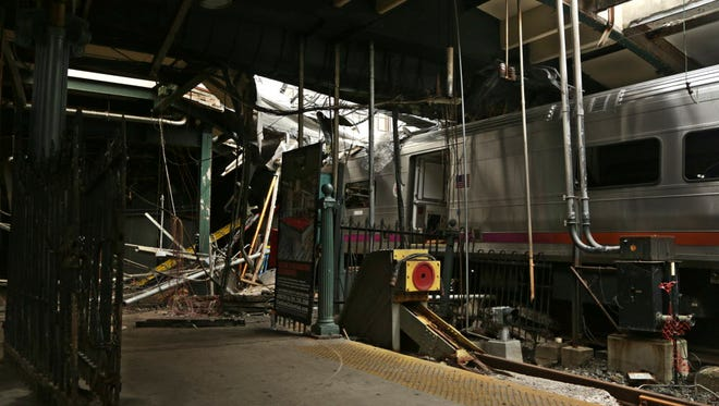Damage to the Hoboken Terminal after a commuter train crash in September that killed one person and injured more than 100.