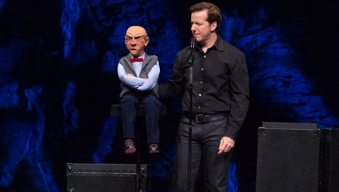 """Ventriloquist and comedian Jeff Dunham performs with Walter at the Pensacola Bay Center during his 2016 """"Perfectly Unbalanced"""" tour."""