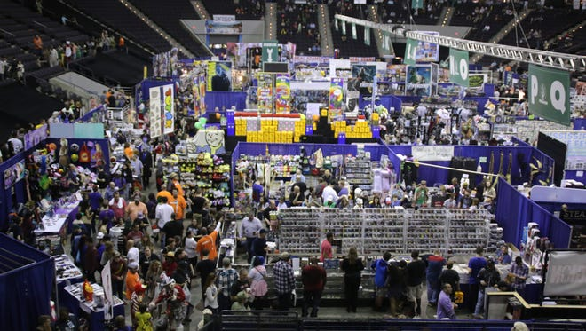 Thousands of people make their way through the Pensacola Bay Center on day two of Pensacon 2017 Saturday.