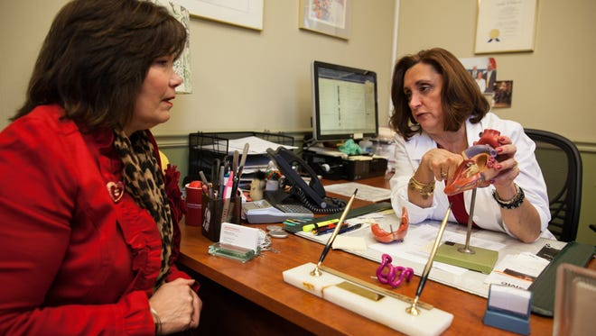 Andrea Passero of Yonkers visits with Dr. Matilda Taddeo, a cardiovascular disease physician with the NewYork-Presbyterian Medical Group of Westchester at her office in Bronxville, Feb/ 24, 2017