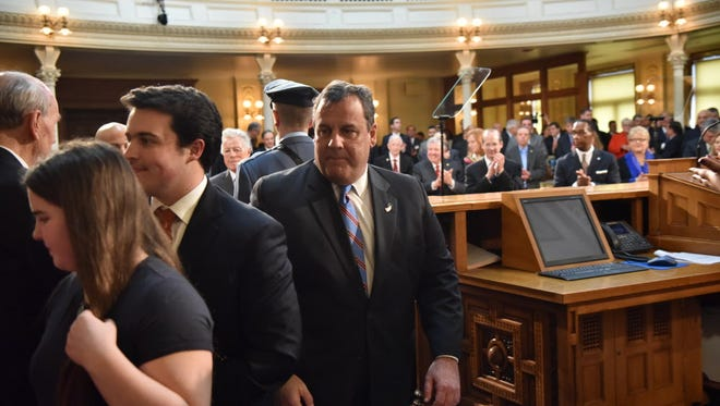 Chris Christie arrives at the State House to deliver his final budget address as governor on Feb. 28, 2017.