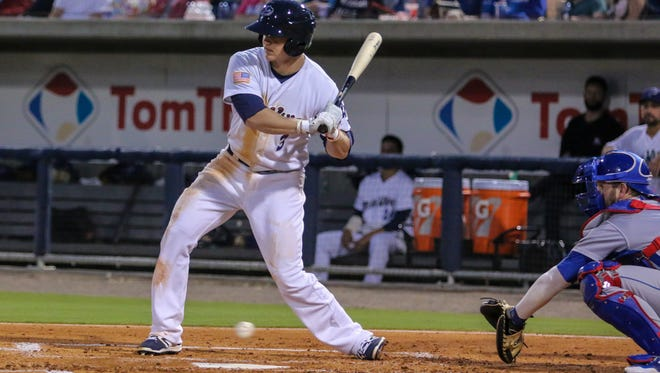 The Blue Wahoos Josh Vanmeter, shown in earlier game this month, continues being on of the team's top hitters.