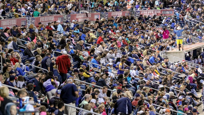 Blue Wahoos fans fill the stadium Saturday night as Penascola battled against the Tennessee Smokies.