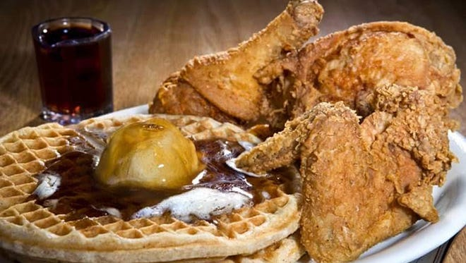 The chicken and waffles at Rags Real Chicken & Waffl