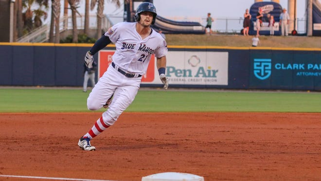 The Blue Wahoos; Brian O'Grady (21) , shown in earlier game this season, hit his second homer in two games Monday, but Jackson Generals tie game late and get walk-off win.