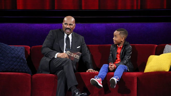 Forest Park, and former Mason, resident Ellis Weaver on set of Little Big Shots with Steve Harvey. The episode appears April 30 on NBC.