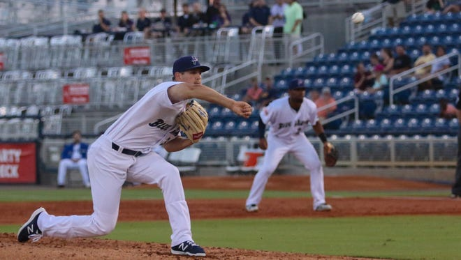 Blue Wahoos pitcher Tyler Mahle (31) pitches against the Birmingham Barons on Monday, May 8, 2017.