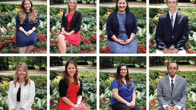 Eight UL Lafayette seniors have been recognized as Outstanding Graduates for the Spring 2017 semester. Top row, from left, are: Leah M. Boudreaux, College of the Arts; Elisabeth I. Kolb, B.I. Moody III College of Business Administration; Madeline Trcalek, College of Education; and Jacob J. LeBlanc, College of Engineering.  Katelyn E. Bayhi, College of Liberal Arts; Brooke A. Capritto, College of Nursing and Allied Health Professions; Alyssa V. Bienvenu, Ray P. Authement College of Sciences; and Joshua S. Barnes, University College.