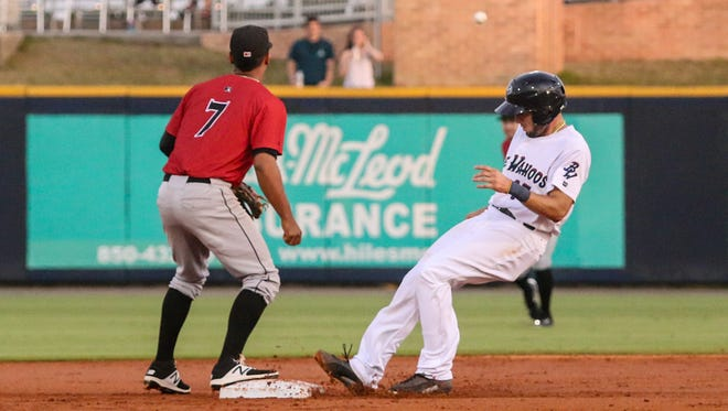 Pensacola's Adrian Nieto (17) makes it safely to second base after Leon Landry (2) hit a single into right centerfield against the Birmingham Barons at Admiral Fetterman Field on Thursday, May 11, 2017.