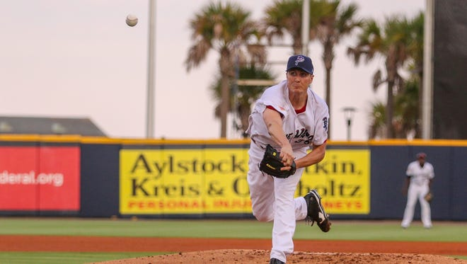 Blue Wahoos starting pitcher Homer Bailey, on rehab assignment from the Cincinnati Reds, pitches against the Mississippi Braves at Admiral Fetterman Field on Friday, June 9, 2017.