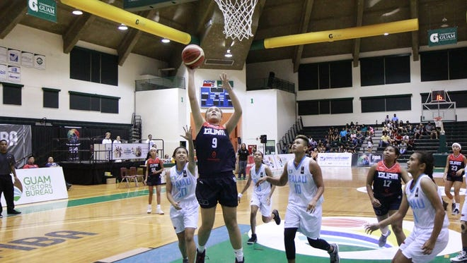 In this photo taken July 11, 2017, Mia San Nicolas is playing heads above the rest as she did against New Caledonia on Wednesday night, scoring 29 points and pulling down 22 rebounds.