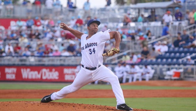 Pensacola's Keury Mella (34) pitches against the Mississippi Braves at Blue Wahoos Stadium on Thursday, July 13, 2017.