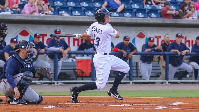 Pensacola's Nick Senzel (13) hits a double into right field against the Mississippi Braves at Blue Wahoos Stadium on Thursday, July 13, 2017.