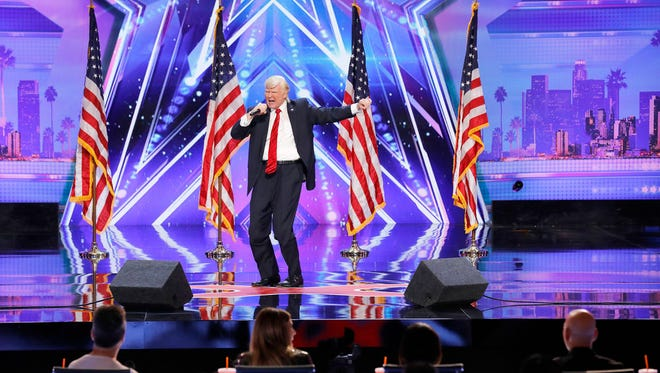 """The Singing Trump performs on """"America's Got Talent"""" auditions at Pasadena Civic Auditorium."""