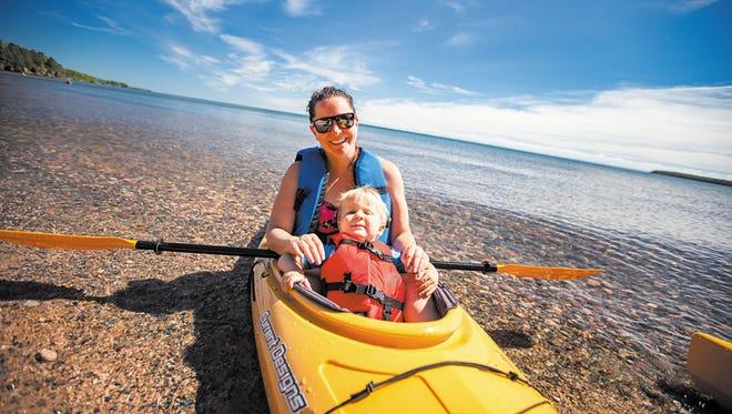 Kayaking at Madeline Island.