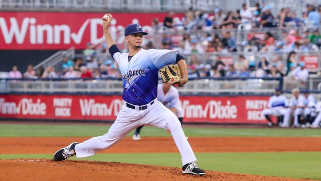 Blue Wahoos pitcher Jesus Reyes, shown in an earlier game this season, struggled last night and was lifted after three innings in 4-0 loss against Mississippi Braves.