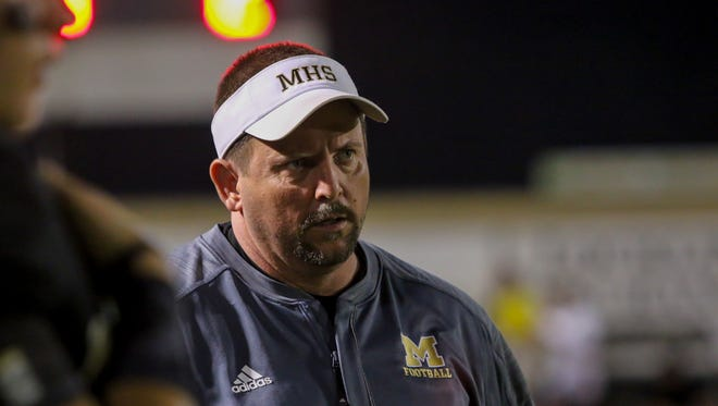 Milton High school head coach Harry Lees during the game against the Washington Wildcats at Milton High School on Friday, August 25, 2017. Washington beat Milton 45-26.
