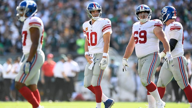 New York Giants quarterback Eli Manning (10) reacts after the Giants cannot convert on downs in the second half. Philadelphia Eagles defeated the New York Giants 27-24 in Philadelphia, PA on Sunday, September 24, 2017.