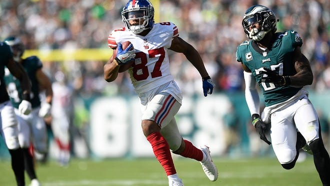 New York Giants wide receiver Sterling Shepard (87) on his way to his 77-yard touchdown in the fourth quarter. Philadelphia Eagles defeated the New York Giants 27-24 in Philadelphia, PA on Sunday, September 24, 2017.