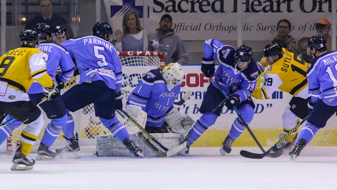 Ice Flyers goaltender Sean Bonar, shown in last Friday's 2-0 win against the Mississippi RiverKings, was signed Wednesday to play for the Atlanta Gladiators in the higher level ECHL. He could rejoin the Ice Flyers later this season.