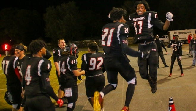 The West Florida High School Jaguars take on the Jacksonville Trinity Christian Academy Conquerors in the Region 1-5A championship game at Woodham Middle School on Friday, November 24, 2017.  West Florida won 24-14 and will host Baker County on Friday, December 1st in the school's first state semifinal football game.