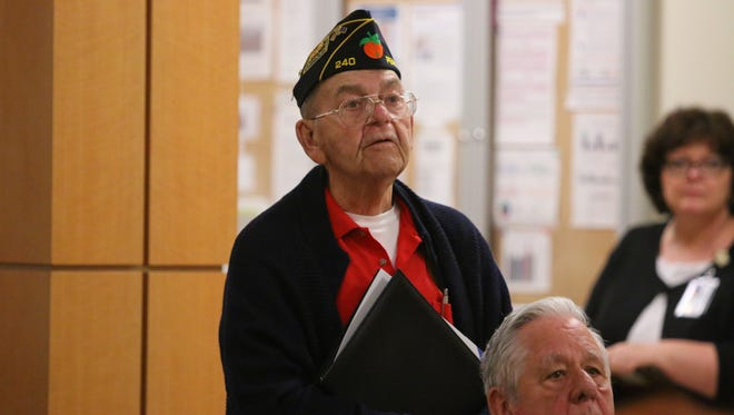 Veteran Robert Fretz waits for a response to his comments during a Gulf Coast Veterans Health Care System town hall at the Joint Ambulatory Care Center on Wednesday, December 6, 2017.
