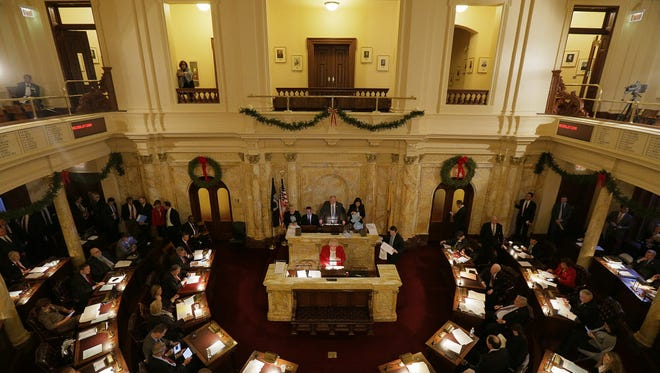 The New Jersey Senate conducts business at the State House in 2016 photo.