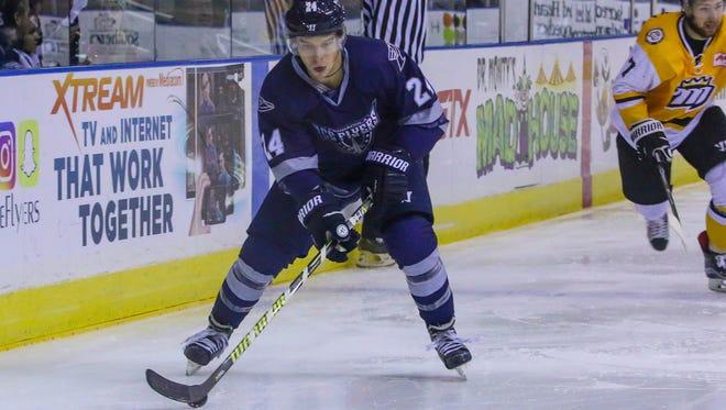 The Ice Flyers Stephen Hrehoriak had a goal in Saturday night's win against the Roanoke Rail Yard Dawgs.