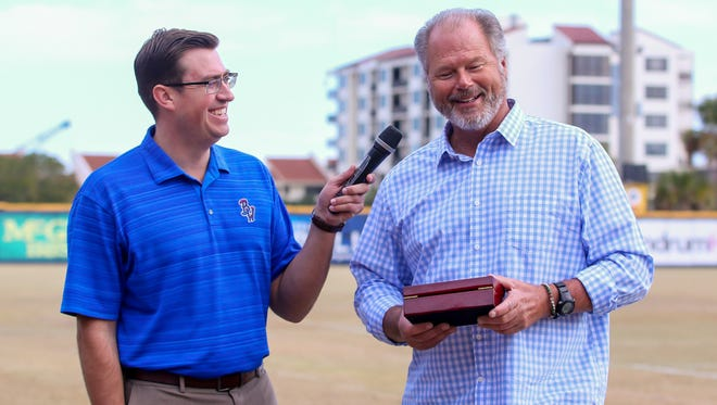 Tommy Thrall, Blue Wahoos media relations coordinator, left, interviews Pat Kelly, who was the team's manager the last three seasons and now is the manager of the Triple-A Louisville Bats, during Wahoos Fest at Blue Wahoos Stadium on Saturday, January 20, 2018.