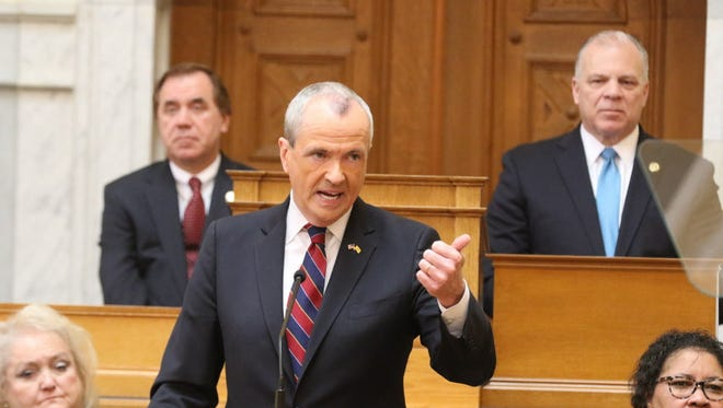 Assembly Speaker Craig Coughlin and Senate President Stephen Sweeney during Governor Phil Murphy the Governor's budget address in the Assembly chambers.