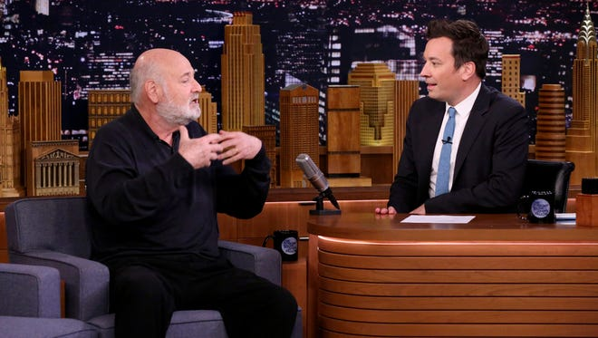 """Rob Reiner, with Jimmy Fallon, appears as a guest on """"The Tonight Show"""" Thursday."""