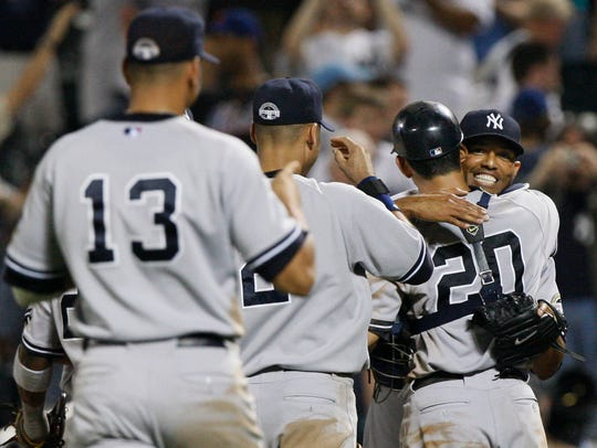 Yankees closer Mariano Rivera after earning his 500th
