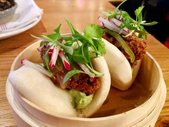 Crispy Oysters in steamed buns at City Tap Kitchen and Craft.