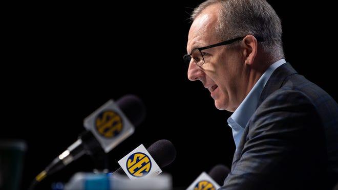 SEC Commissioner Greg Sankey speaks during a news conference March 12 at Bridgestone Arena in Nashville, Tenn.