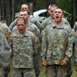 Army recruits during basic training at Fort Benning, Ga., in May 2012.